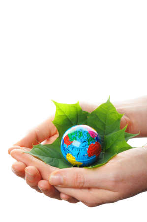 renewabel: save the world concept with hand leaf and globe Stock Photo