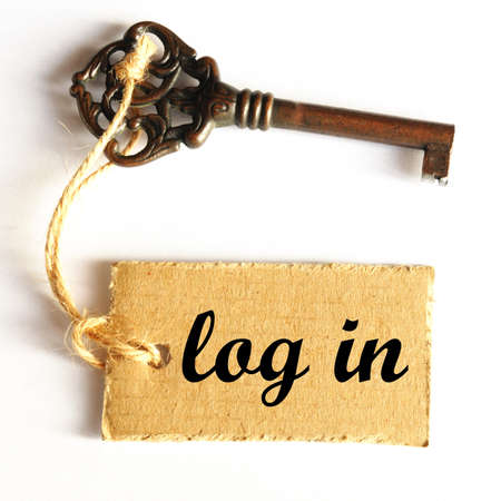 logon: log in internet concept with key and label Stock Photo