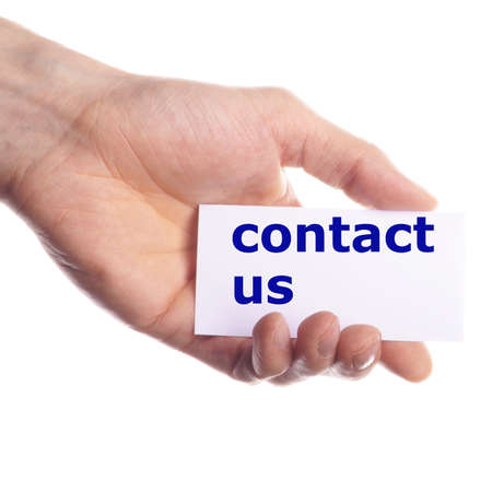 contact us or service concept with hand holding paper Stock Photo - 7331549