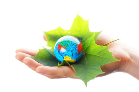 globe and leaf in hands for environmental conservation Stock Photo - 7331589