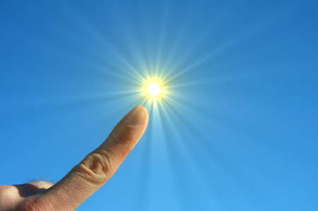hand finger sky and sun showing freedom concept Stock Photo - 7331634