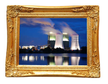 picture of industry at night in image frame on a wall photo