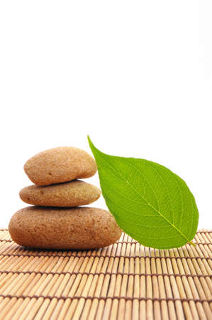 zen stone and green leaf showing spa or wellness concept photo