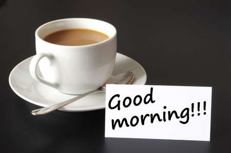coffeecup: good morning breakfast and cup of coffee on black background Stock Photo