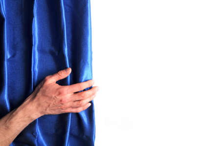 curtain hand and blank white background with copyspace photo