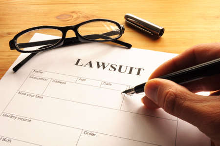 lawsuit: lawsuit form or document in business office