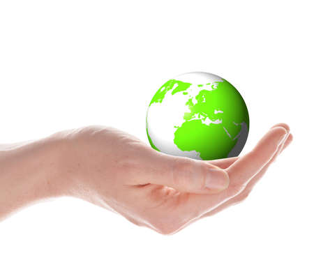 the globe in your hands concept with planet earth isolated on white photo