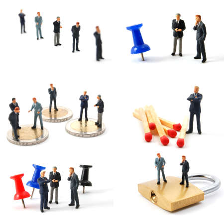 collection of small toy business man showing financial concept photo