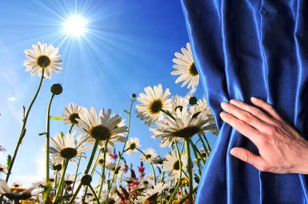 Blumen hinter blauer Vorhang können als glücklich Geburtstagskarte verwendet werden oder Sommer-Konzept  Standard-Bild