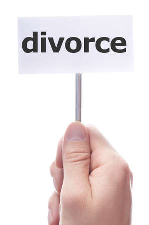 seperation: divorce concept with hand holding paper sign