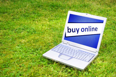 buy online: buy online or ecommerce concept with laptop in green grass Stock Photo