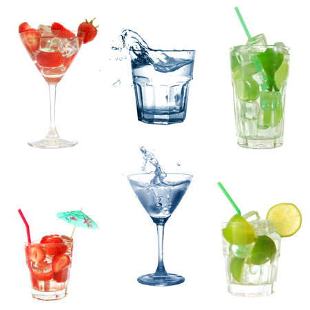 drink or cocktail collection isolated on a white background Stock Photo