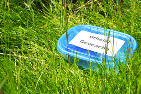 official blue geocache box in nature or forest  photo