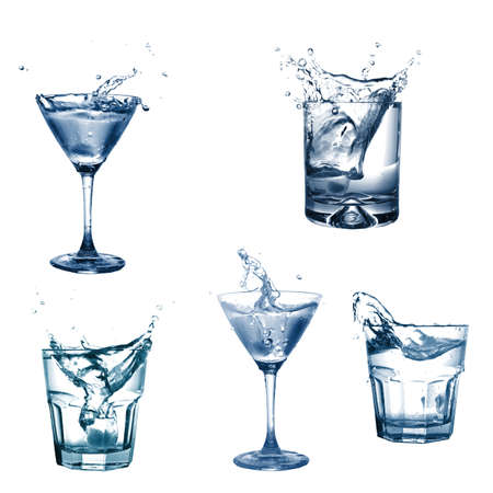 martini splash: drink or cocktail collection isolated on a white background Stock Photo