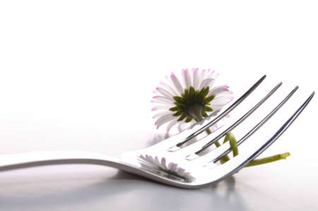 tabel: food concept with flower and fork on white table in summer