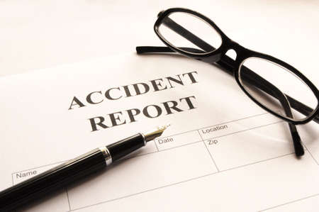 policy document: accident report form or document showing insurance concept