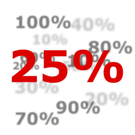 25 percent discount or sale concept with red number photo