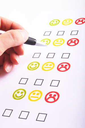 marketing interview with checkbox or tickbox and smilie Stock Photo - 7485694