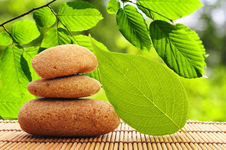 zen like: zen or spa concept with stones leaf and copyspace Stock Photo