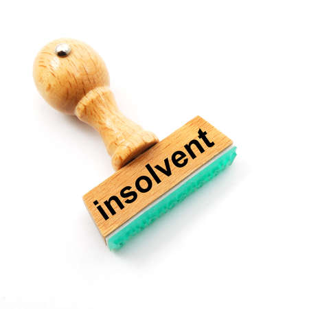 insolvent: insolvent stamp showing bankruptcy concept with copyspace Stock Photo