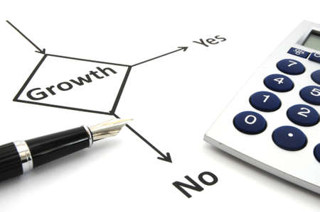 business or finance concept with word growth in flow chart photo