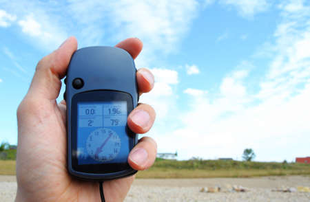 gps navigation or geocaching concept with copyspace photo