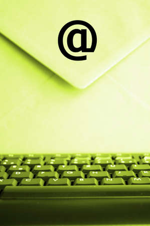 email concept with envelop computer keyboard and copyspace photo