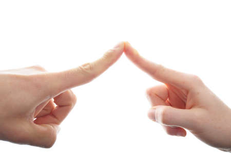 man and woman hand isolated on white background