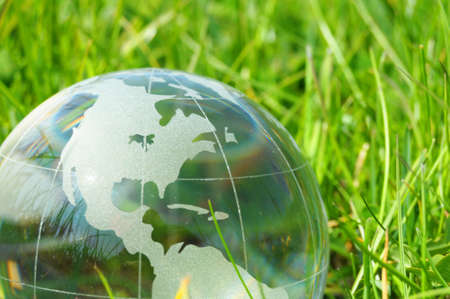 go green: eco ecology or environmental concept with green grass globe and copyspace