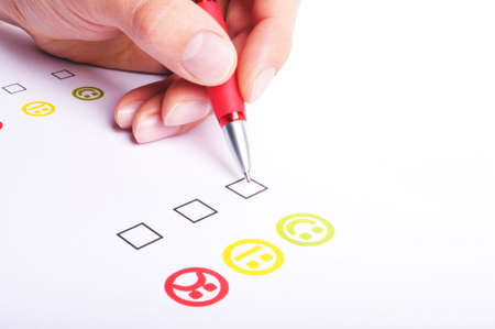 enquiry: customer satisfaction questionnaire showing marketing or business concept Stock Photo