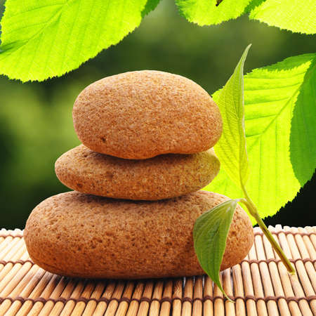 zen stone with leaf and bokeh copyspace showing spa concept Stock Photo - 7534366