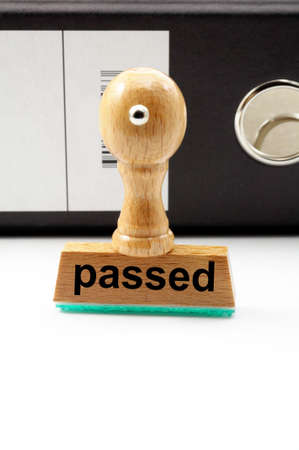 passed test: passed a test concept with stamp and copyspace