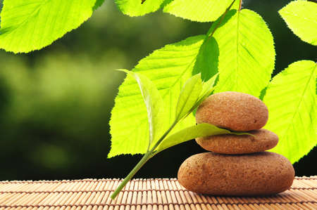 zen like: zen stack or tower with green summer leaf showing spa or wellness