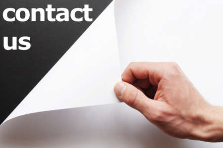contact us or service concept with hand holding paper Stock Photo - 7634482