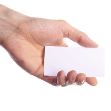business backgound: hand and blank or empty paper with copyspace for text message Stock Photo