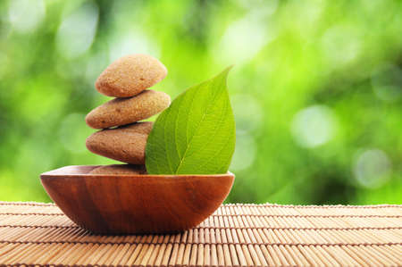 alternative wellness: zen stone with leaf and bokeh copyspace showing spa concept Stock Photo