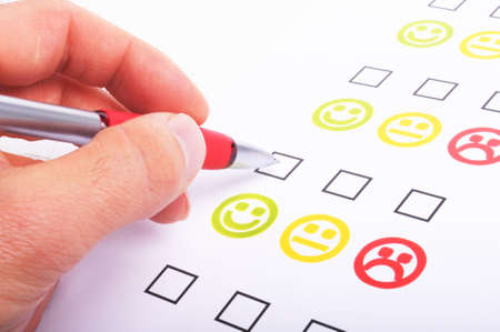 marketing interview with checkbox or tickbox and smilie Stock Photo - 7664084