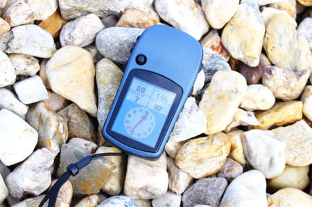 gps navigation or geocaching concept with copyspace Stock Photo