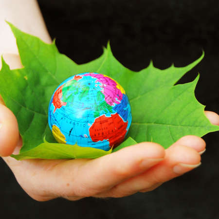 save the world concept with hand leaf and globe Stock Photo - 7711122