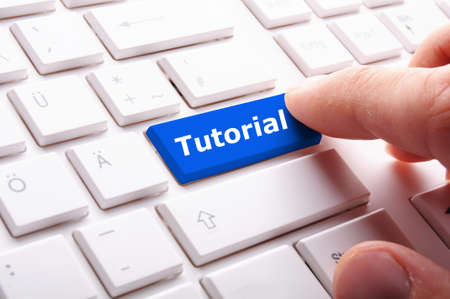 tutorial or e learning concept with key on computer keyboard Stock Photo