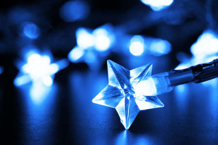 xmas or christmas holiday concept with lights and bokeh photo