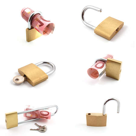 money and padlock collection isolated on a white background photo