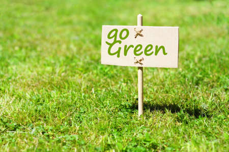 natural paper: go green concept with word on nature still life Stock Photo
