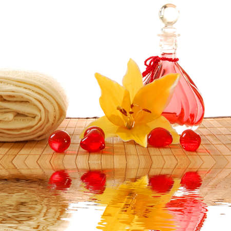 spa still life and water reflection showing wellness concept photo