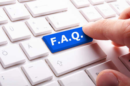 asked: faq or frequently asked questions concept with computer key