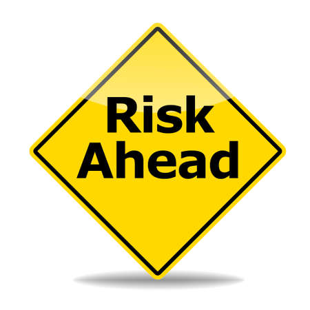 risky: risk management concept with road sign isolated on white background