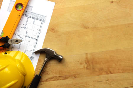 real estate concept with hard hat blueprints tools and copyspace Stock Photo - 7795057