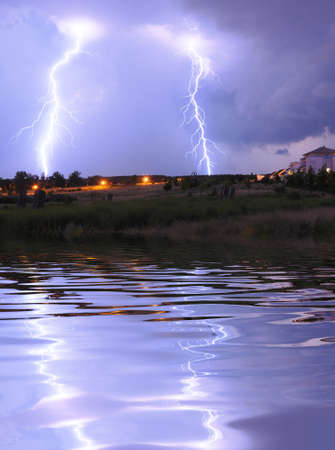 lightning on a thunderstorm in a park with cloudy sky photo