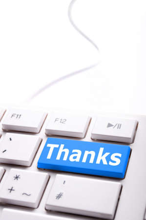 thank you or thanks concept with key on keyboard Stock Photo - 7794942