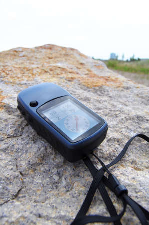 gps navigation: concepto de navegaci�n o geocaching de GPS con copyspace Foto de archivo